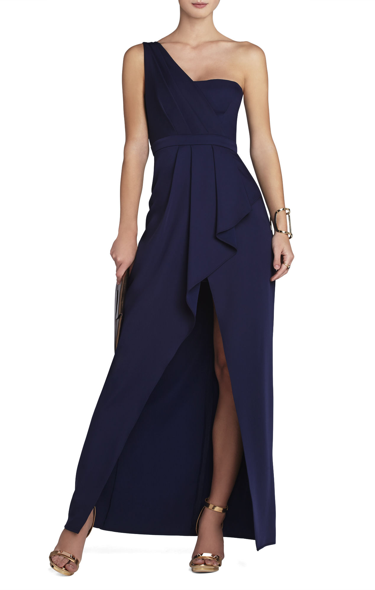 Bcbgmaxazria Kristine One-Shoulder Peplum Gown in Blue ...