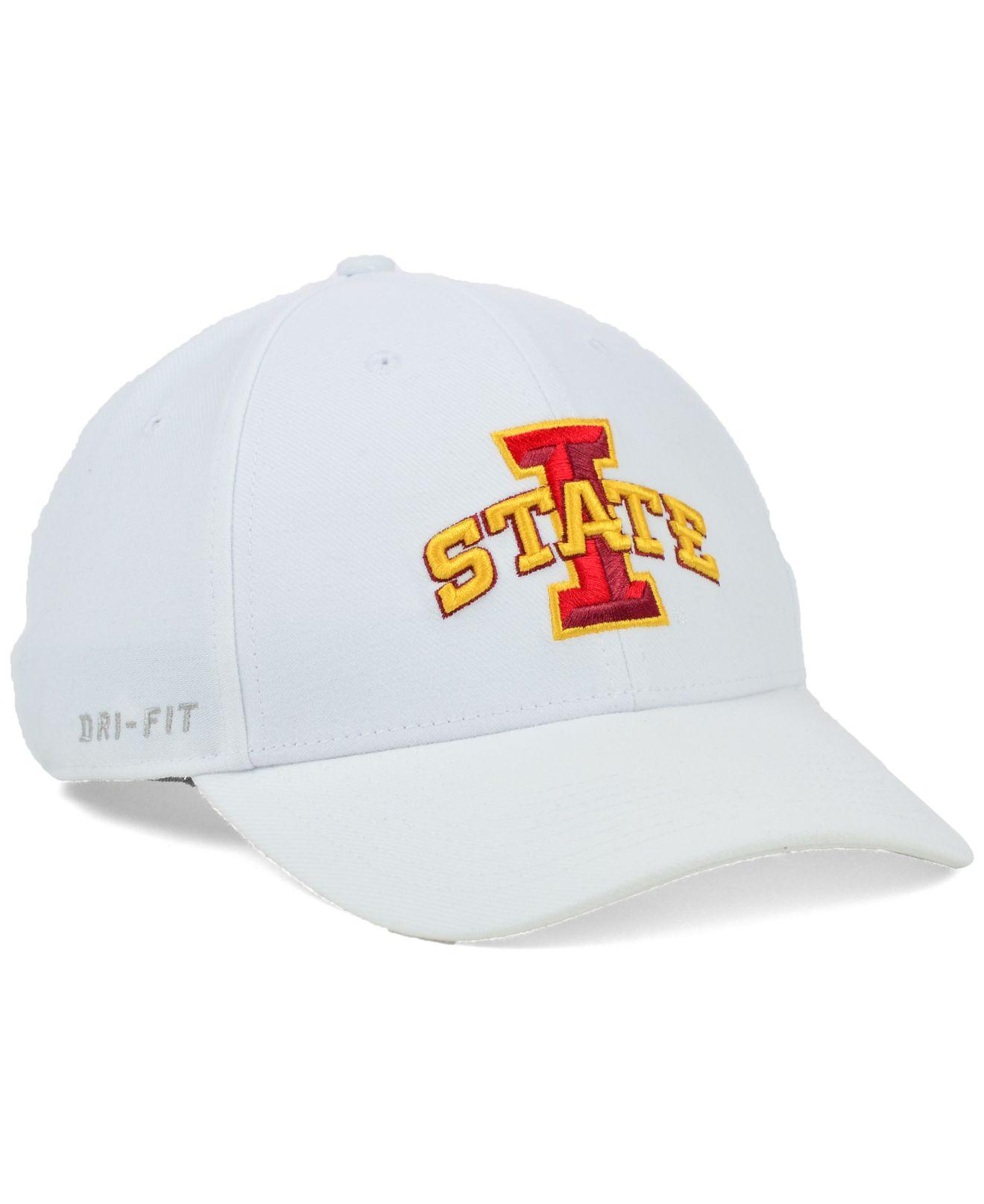 online store 99621 e0ca9 ... ireland lyst nike iowa state cyclones dri fit swooshflex cap in white  for men b16cf ae9c9