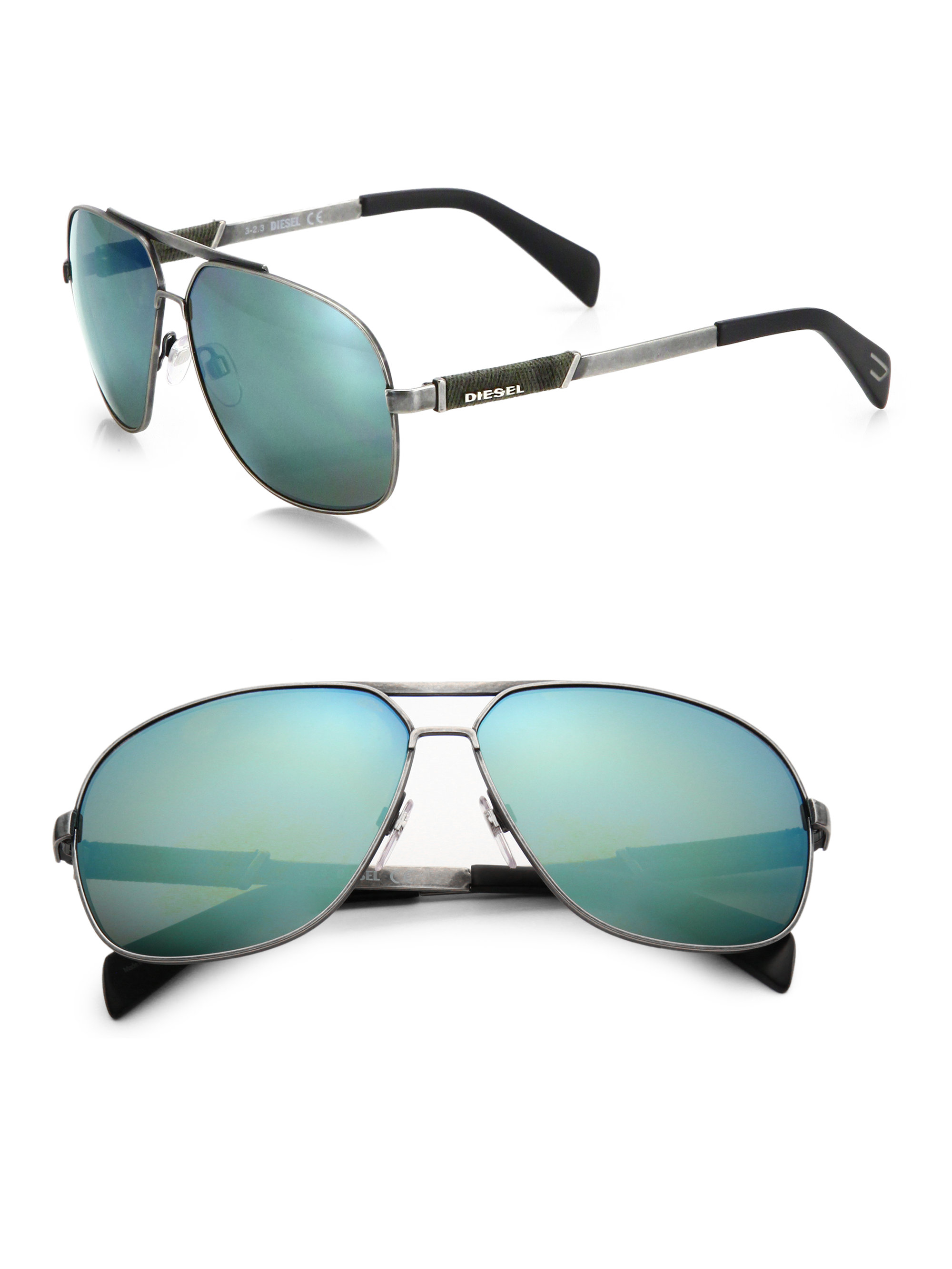 373623acc7 DIESEL 60Mm Denim-Trimmed Metal Aviator Sunglasses in Metallic for ...