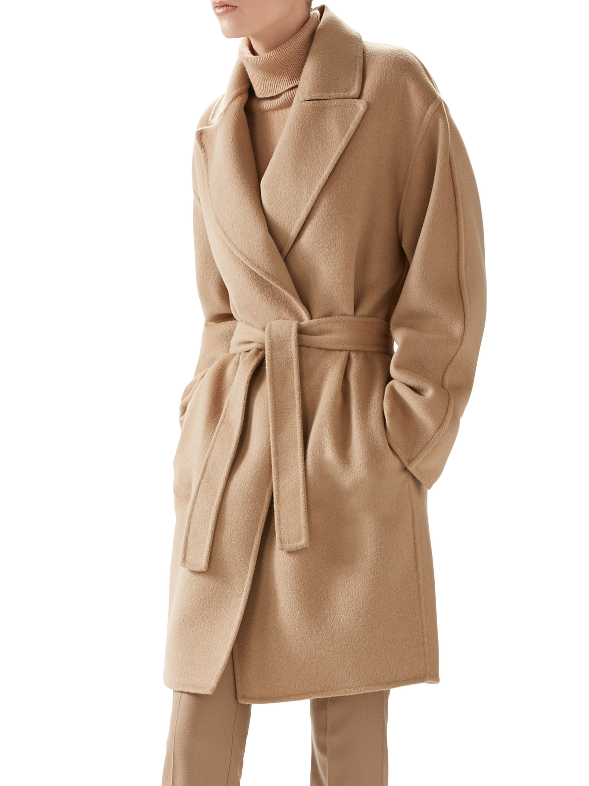 Lyst Gucci Double Wool Wrap Coat In Natural