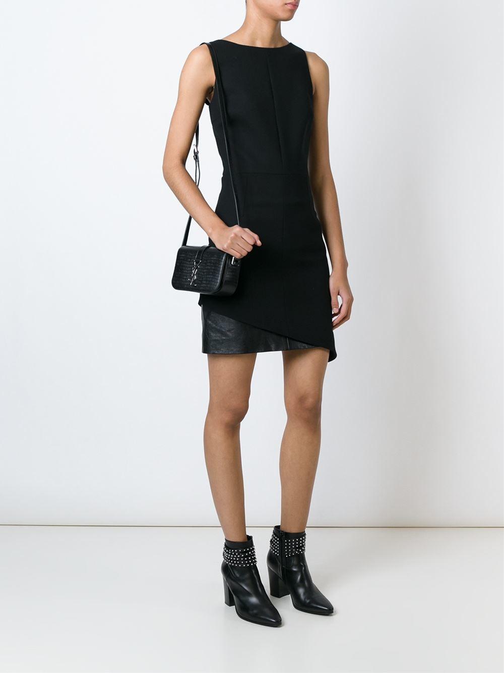 Lyst - Saint Laurent Monogram Universite Leather Shoulder Bag in Black c854f1c61b4d7