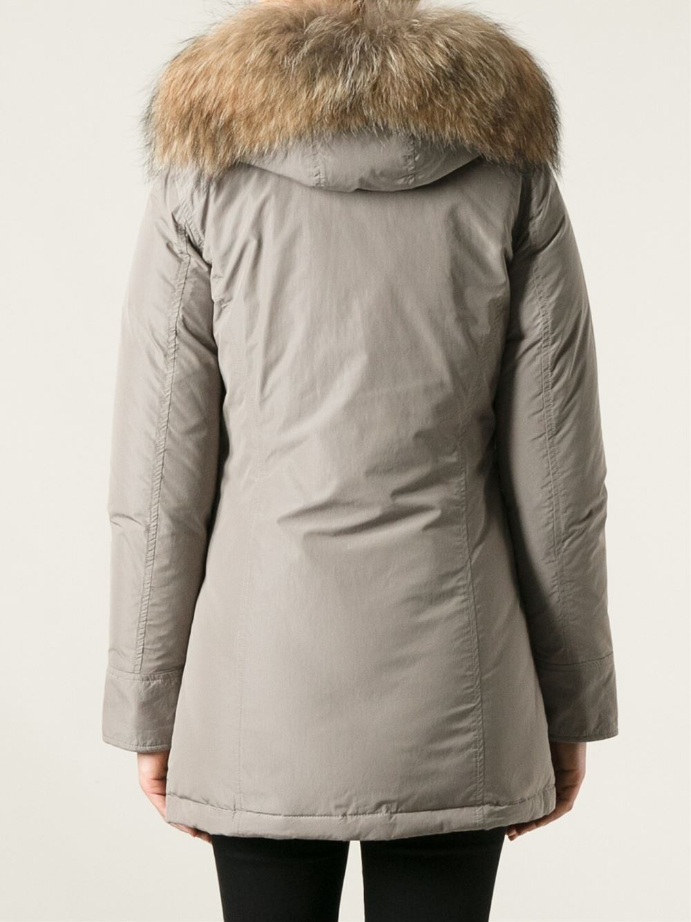 Lyst Woolrich Racoon Fur Trimmed Parka In Natural