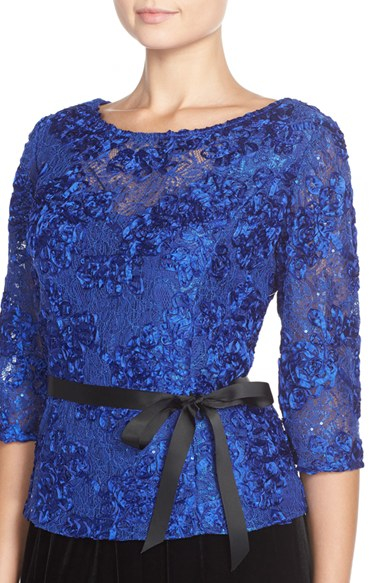 Alex evenings Satin Rosette Embellished Lace Top in Blue | Lyst