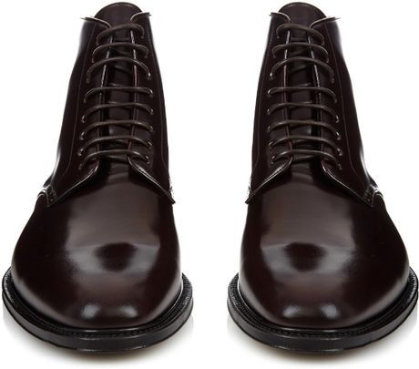 burberry prorsum lace up high shine leather boots in