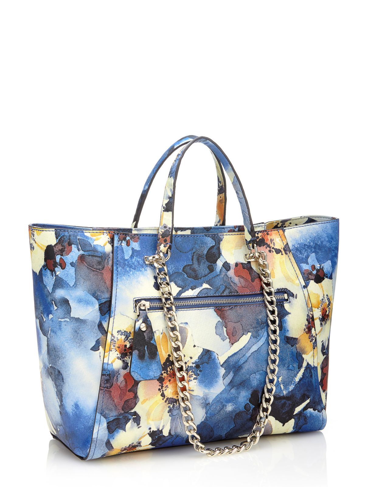 Guess Nikki Watercolour Floral Print Shopper In Blue | Lyst