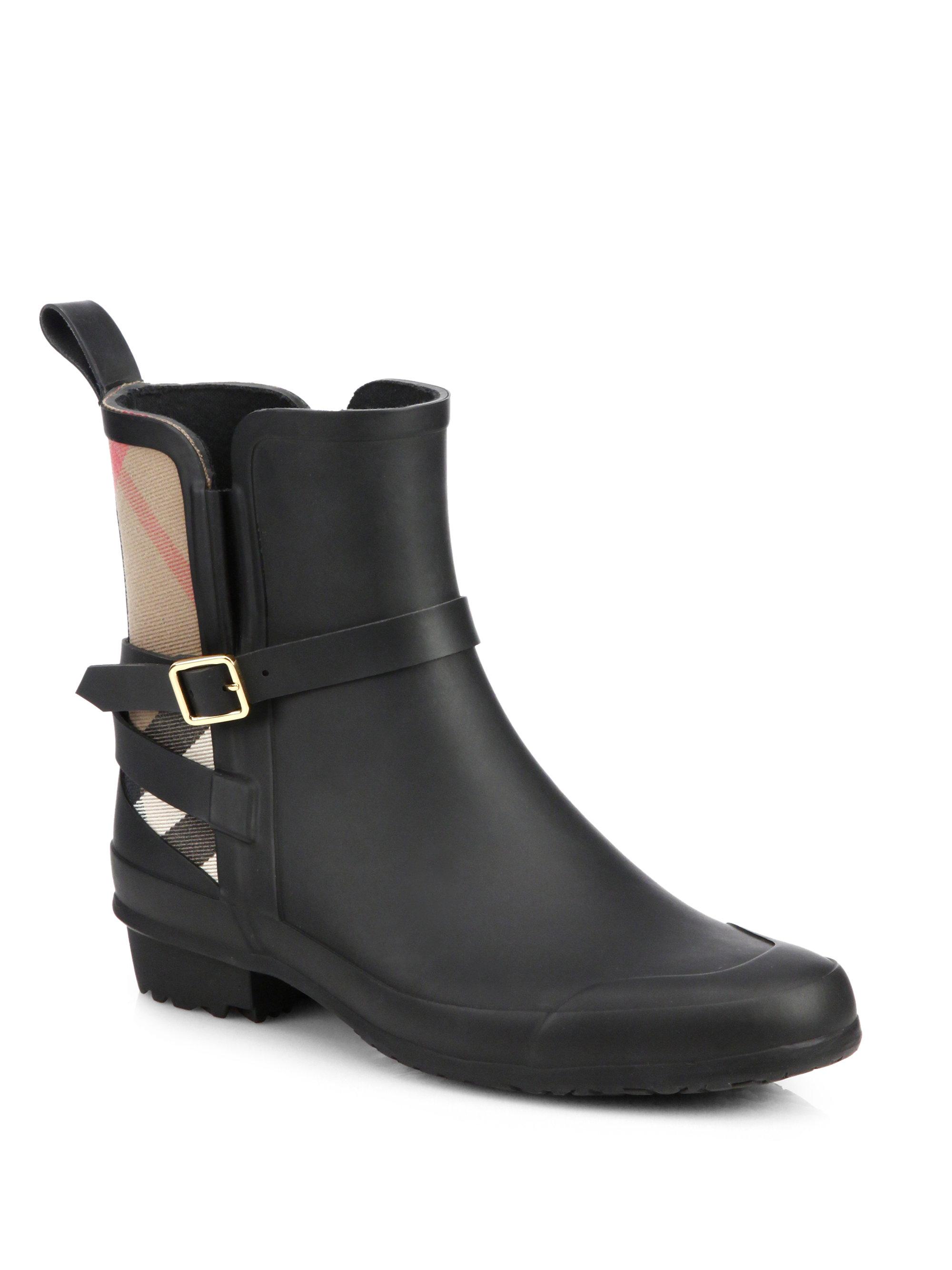 burberry riddlestone short rain boots in black for men lyst