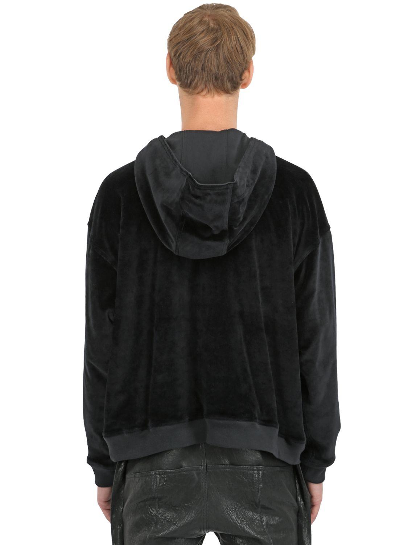 Haider Ackermann Hooded Cotton Velvet Sweatshirt In Black