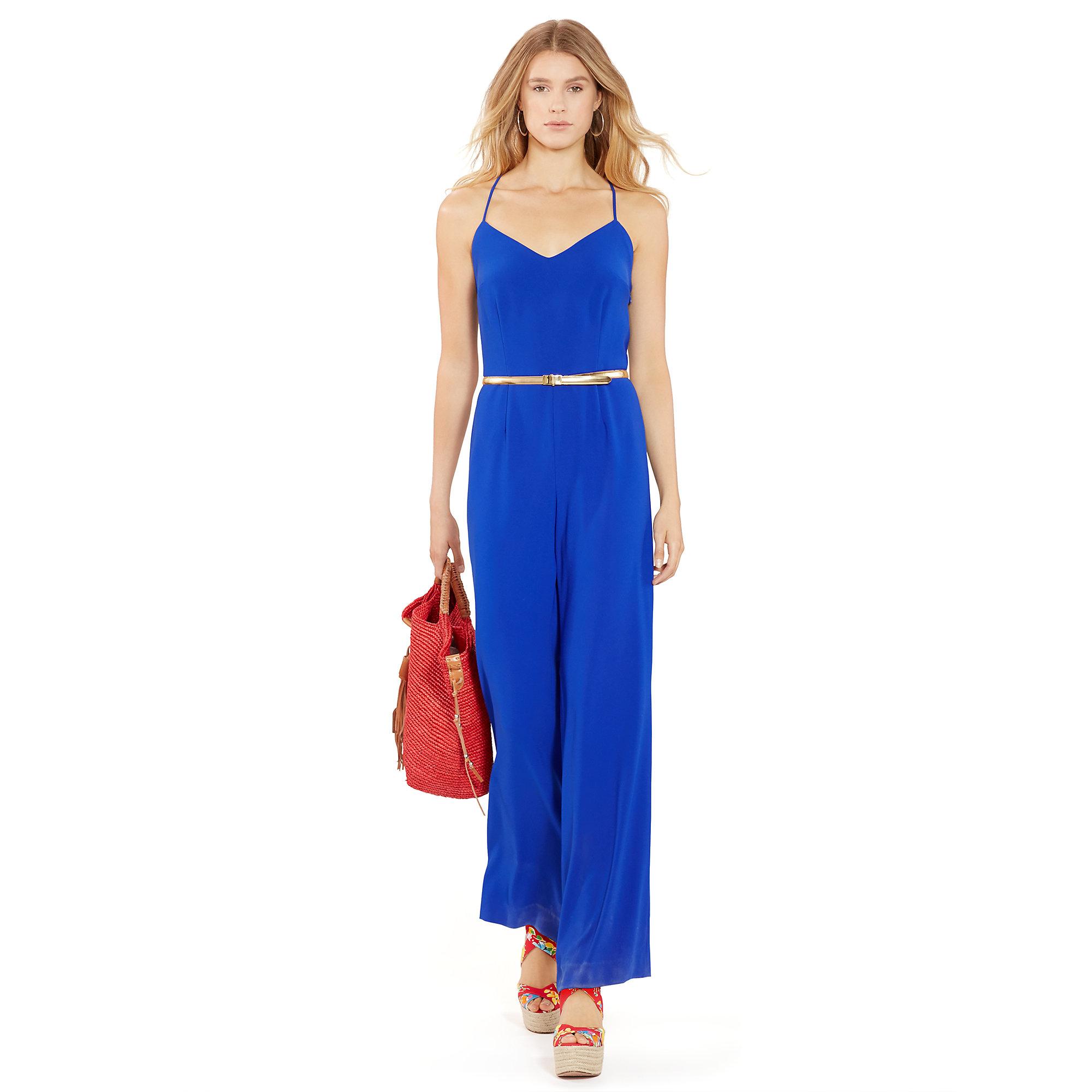 a8df1b8def3 Lyst - Polo Ralph Lauren Crepe Wide-leg Jumpsuit in Blue