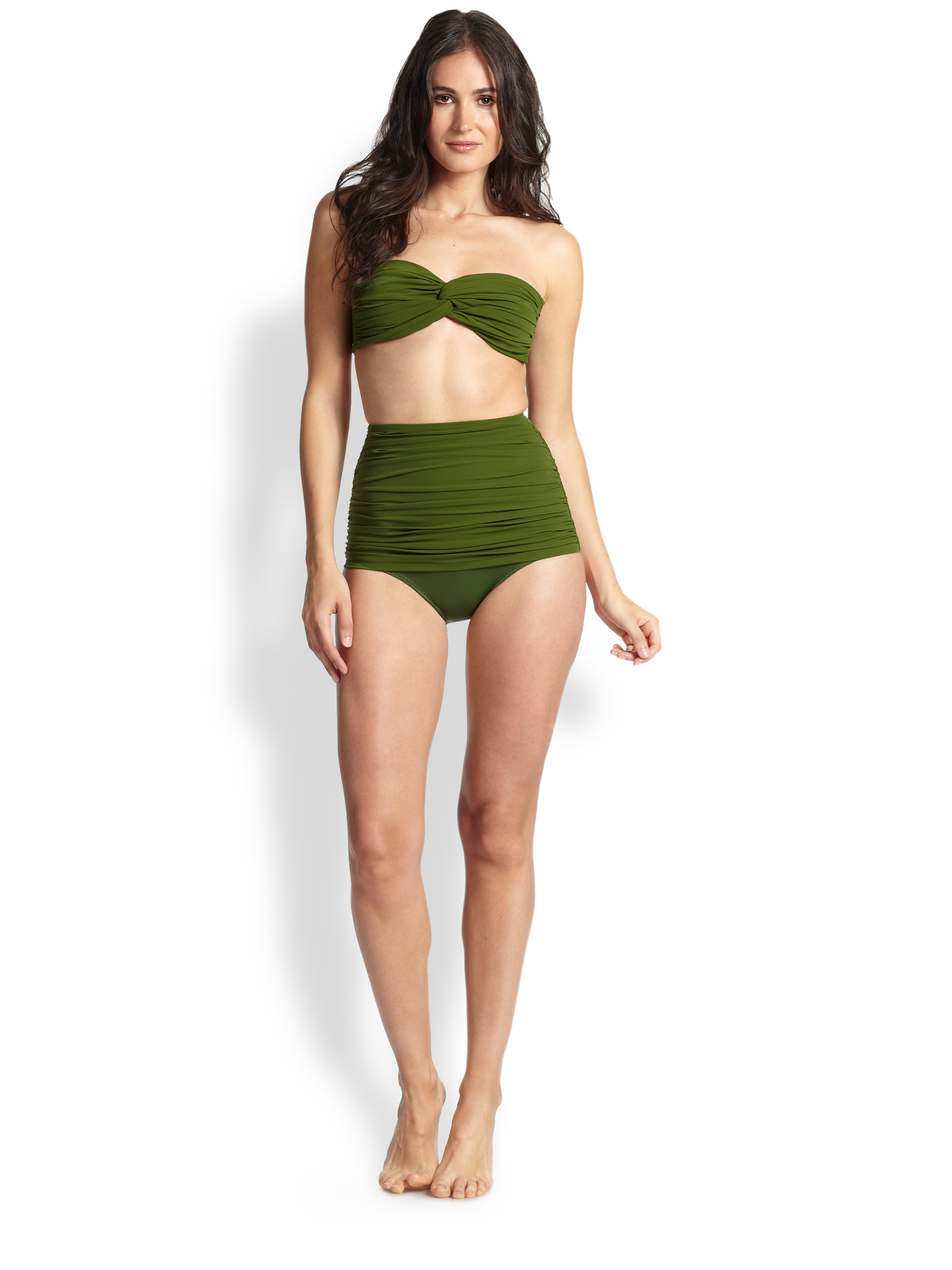 norma kamali high waist ruched bikini bottom in green lyst. Black Bedroom Furniture Sets. Home Design Ideas