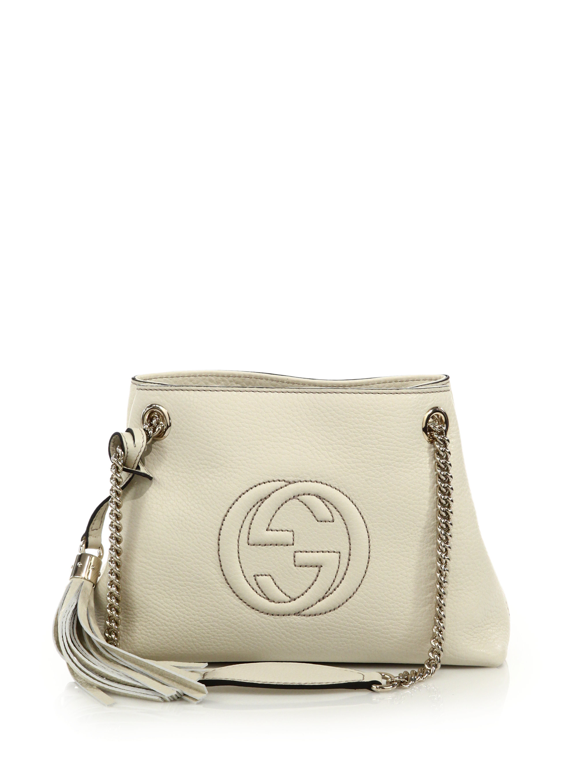 Gucci Soho Small Leather Shoulder Bag in White | Lyst