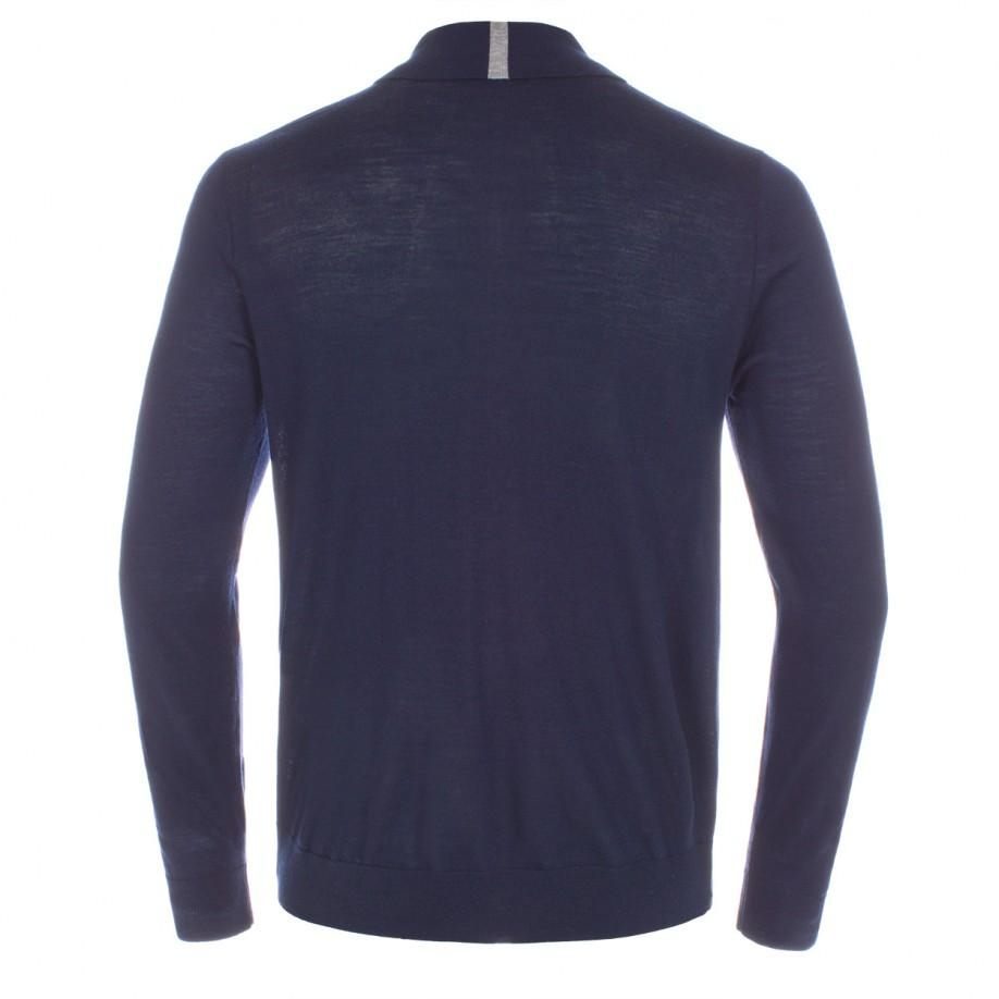 Paul smith men 39 s navy merino wool long sleeve polo shirt for Long sleeve wool polo shirts