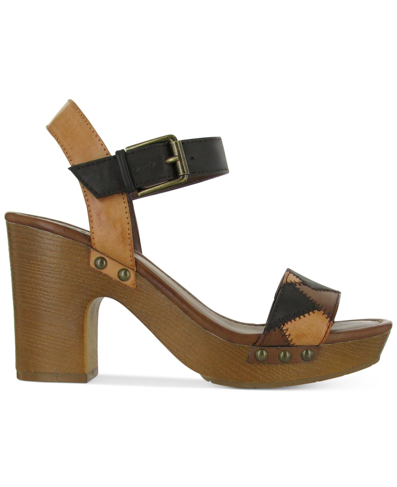 Lyst Mia Mateo Two Piece Wooden Platform Sandals In Black