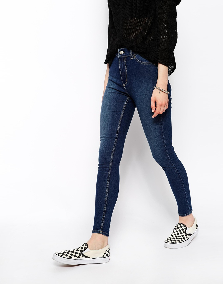 cheap monday spray on super skinny jeans in blue midwashblue lyst. Black Bedroom Furniture Sets. Home Design Ideas