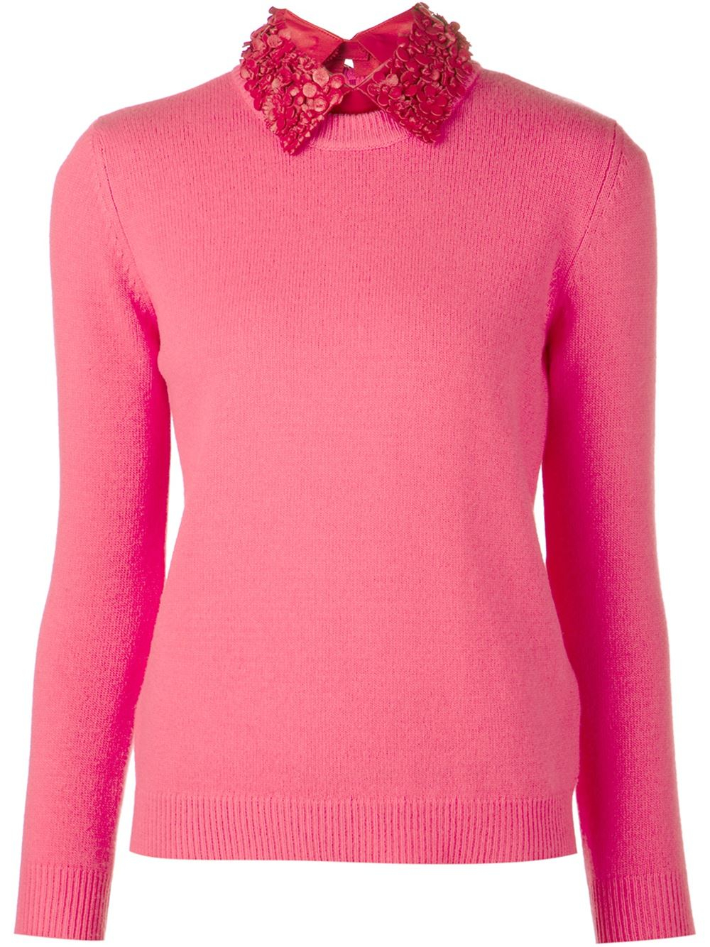 Valentino Applique Collar Sweater in Pink | Lyst