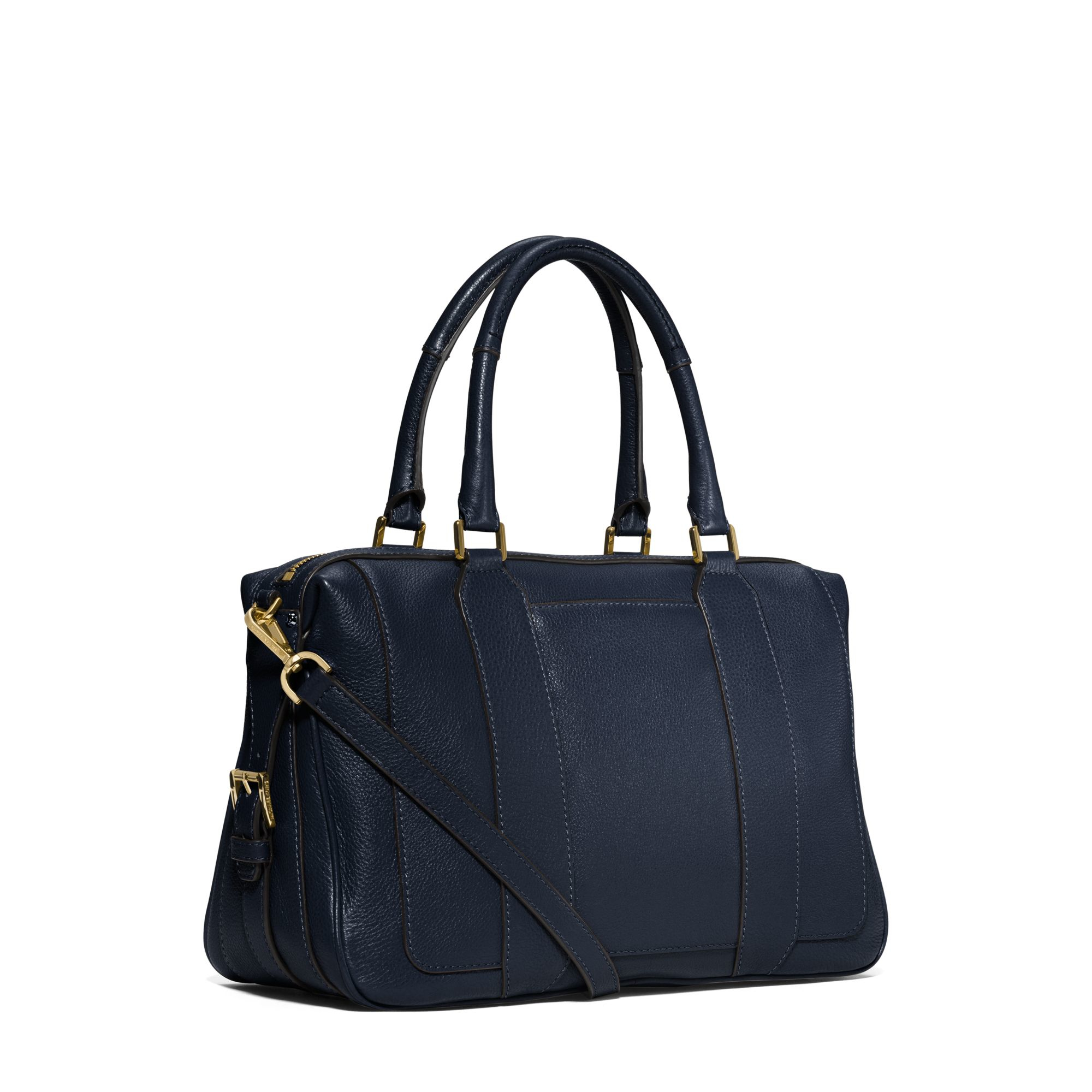 Michael kors Julia Large Leather Satchel in Blue | Lyst