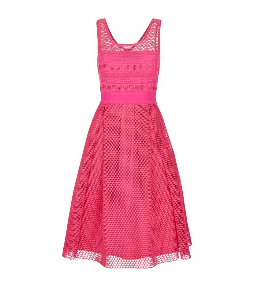 Pinko Macrame Skater Dress in Pink - Lyst c72bf60edc3