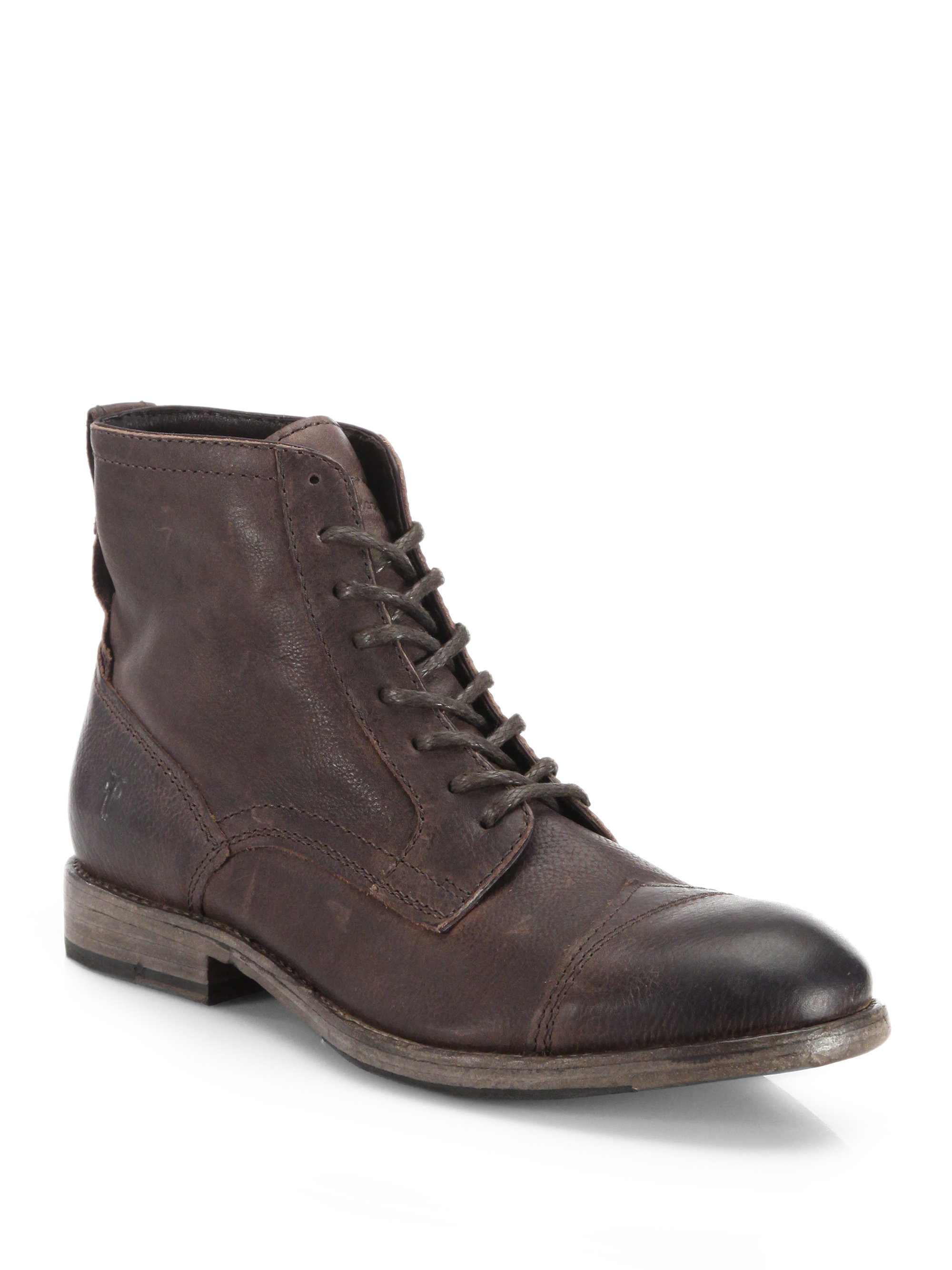 frye everett leather laceup boots in brown for men lyst