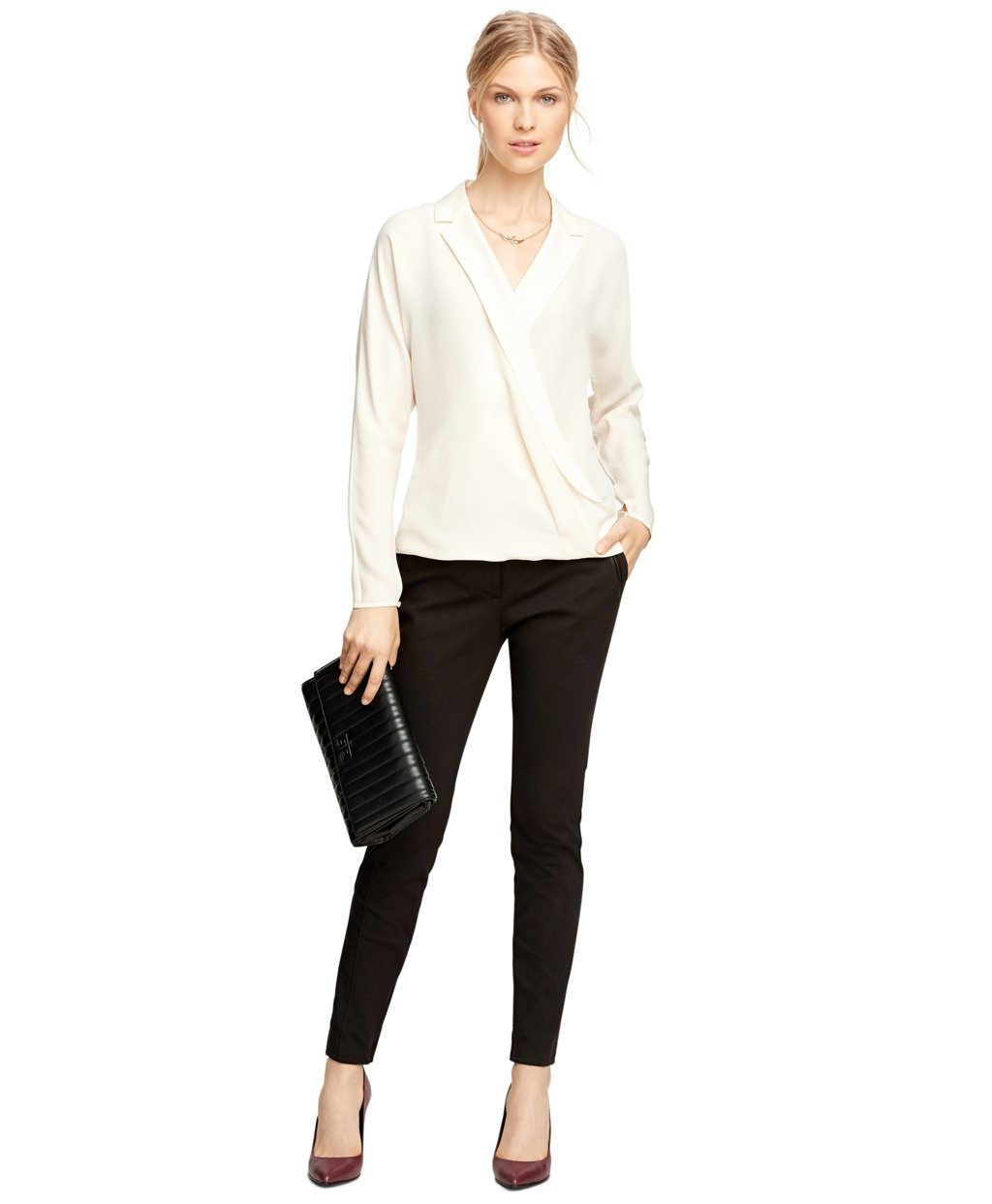 Brooks Brothers Ponte Knit Pants In Black Lyst