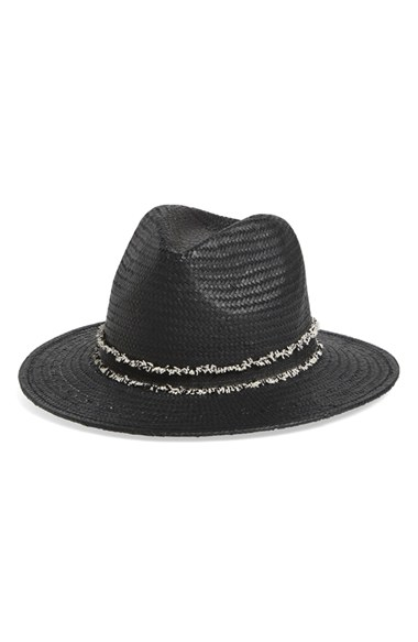 Vince Camuto Straw Panama Hat In Black Lyst