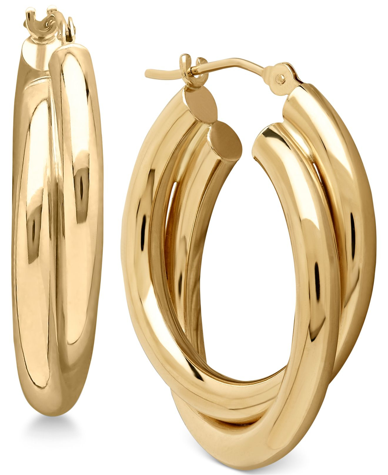 macy 39 s double overlapped hoop earrings in 14k gold in gold. Black Bedroom Furniture Sets. Home Design Ideas