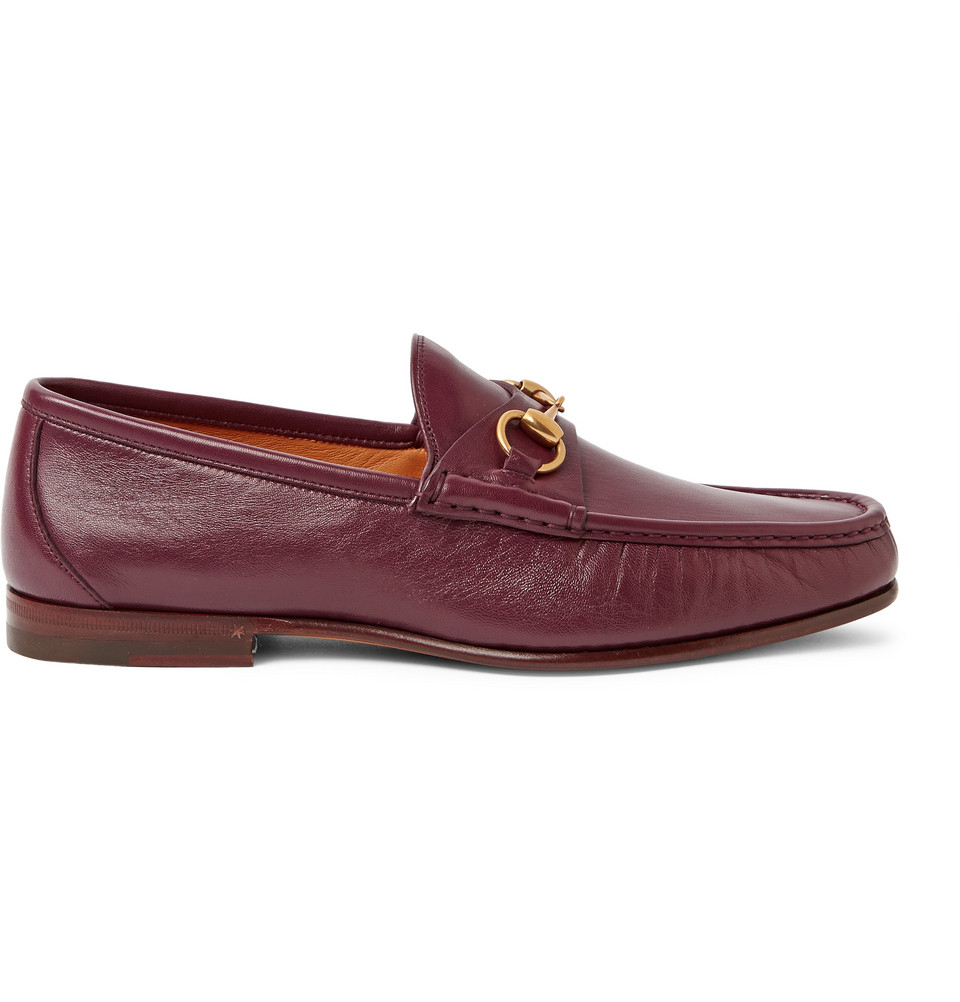 gucci horsebit leather loafers in purple for men burgundy lyst. Black Bedroom Furniture Sets. Home Design Ideas