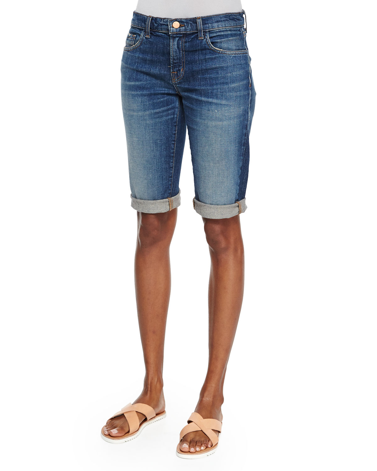 J brand Beau Stretch Bermuda Shorts in Blue (REBOUND) | Lyst