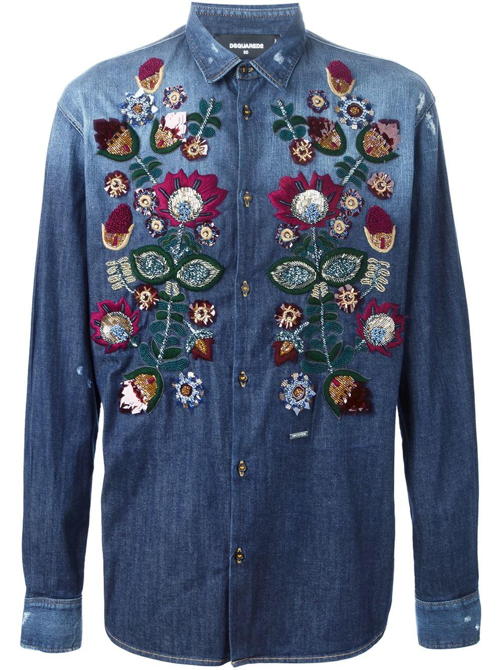 Dsquared² flower embroidered denim shirt in blue for men