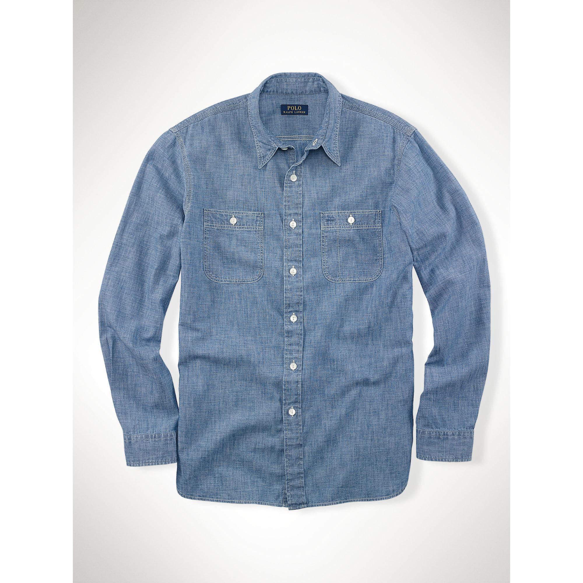 18d65457b Polo Ralph Lauren Cotton Chambray Shirt in Blue for Men - Lyst