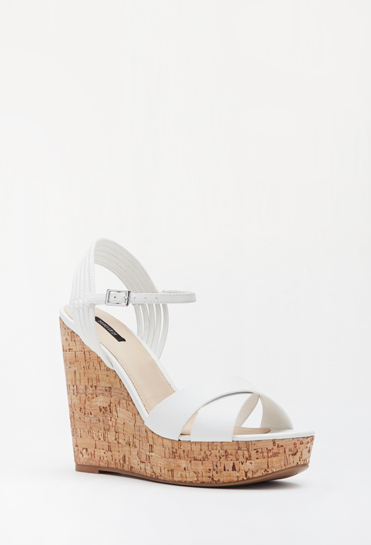 3c684a5b0e7 Lyst - Forever 21 Strappy Cork Wedge Sandals in White