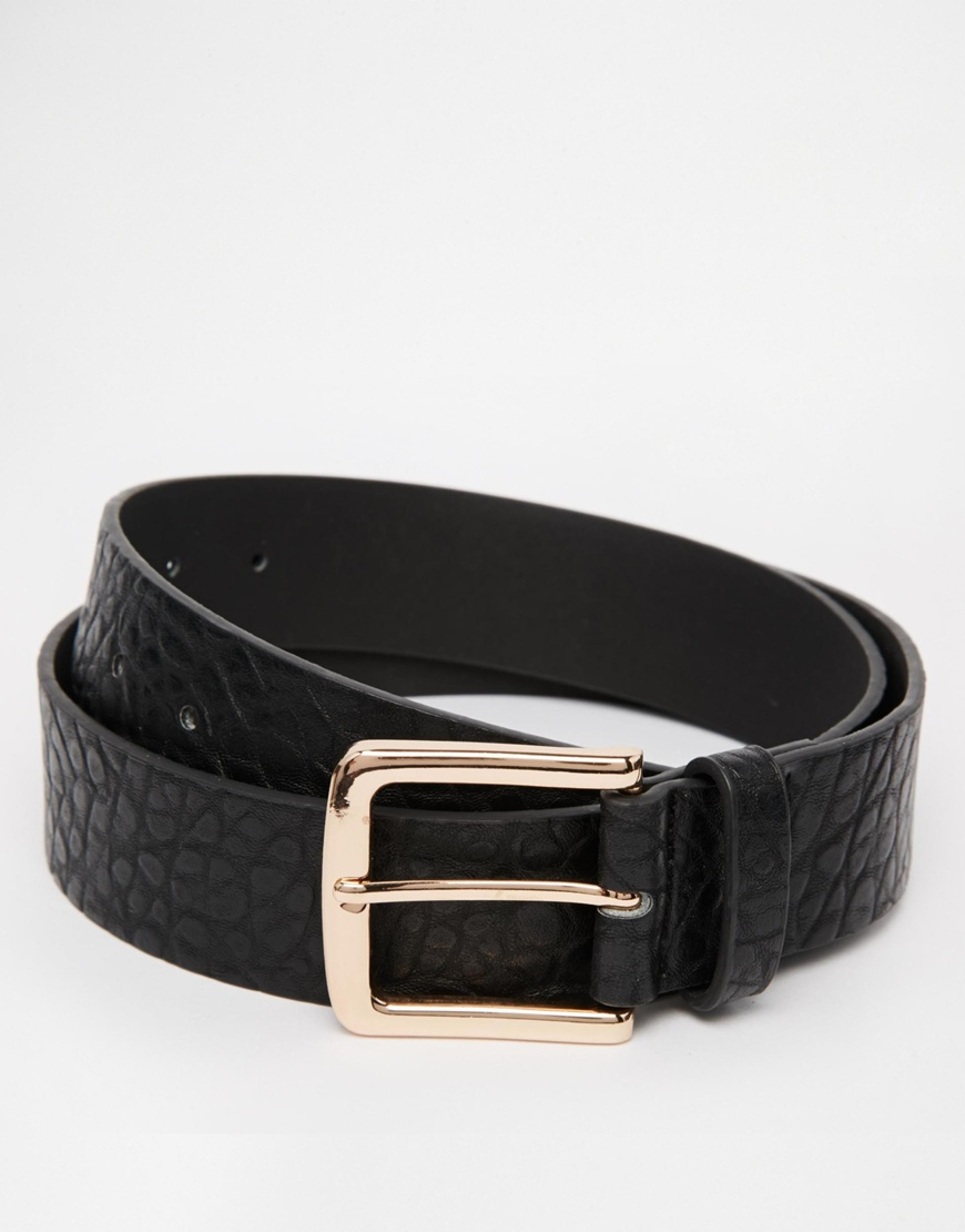 Fresh Lyst - Asos Belt In Black Faux Leather With Rose Gold Buckle in  KD42