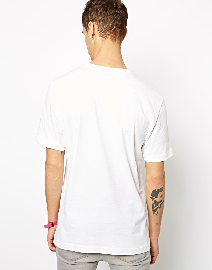 Nike just do it t shirt with swoosh in white for men lyst for White nike swoosh shirt