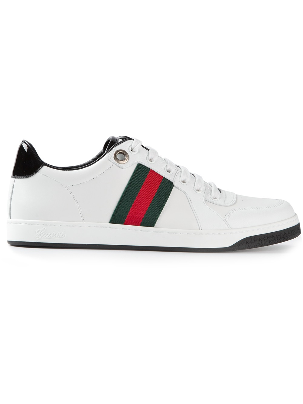 lyst gucci signature striped sneakers in white for men