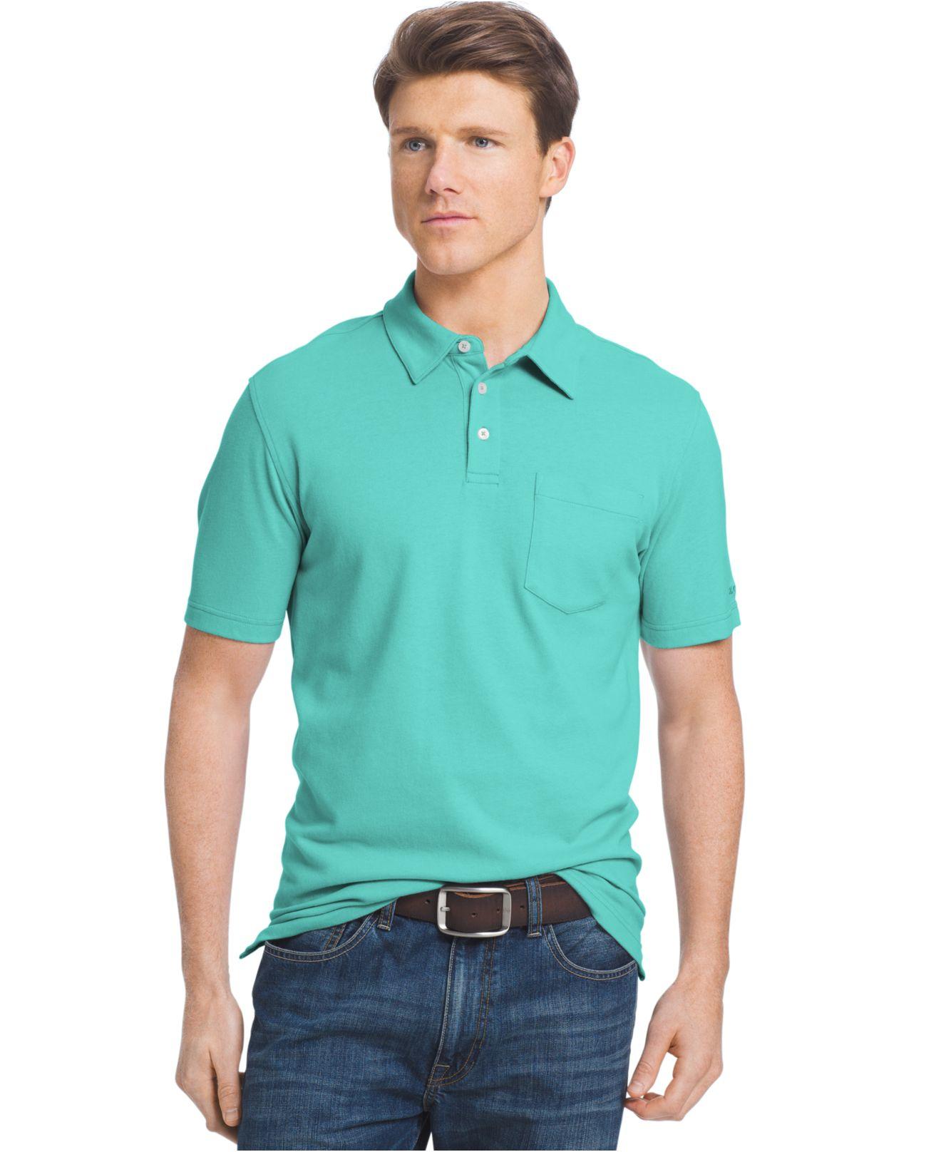 Izod men 39 s fairway polo shirt in blue for men lyst for Aqua blue mens dress shirt