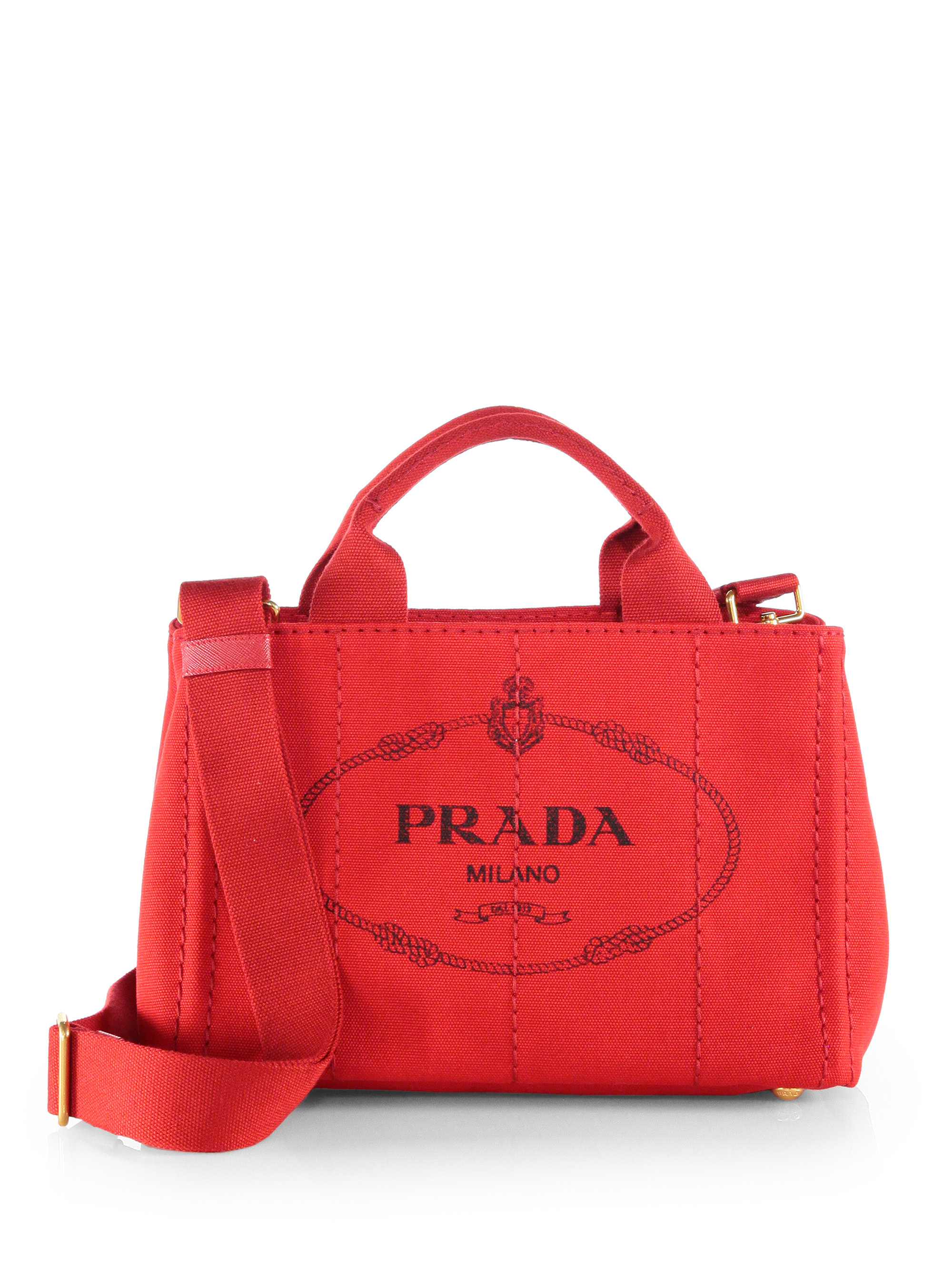 7039bf3872b Prada Logo-print Small Canvas Tote in Red - Lyst