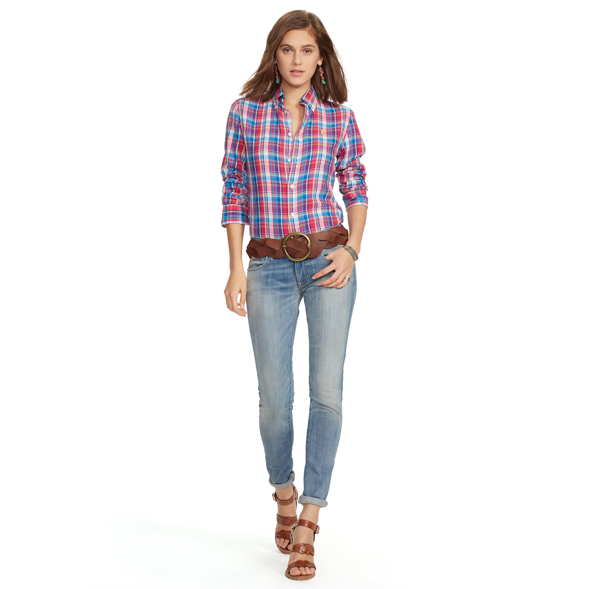 Polo Ralph Lauren Relaxed-fit Cotton Plaid Shirt in Pink - Lyst bb1678c1a51
