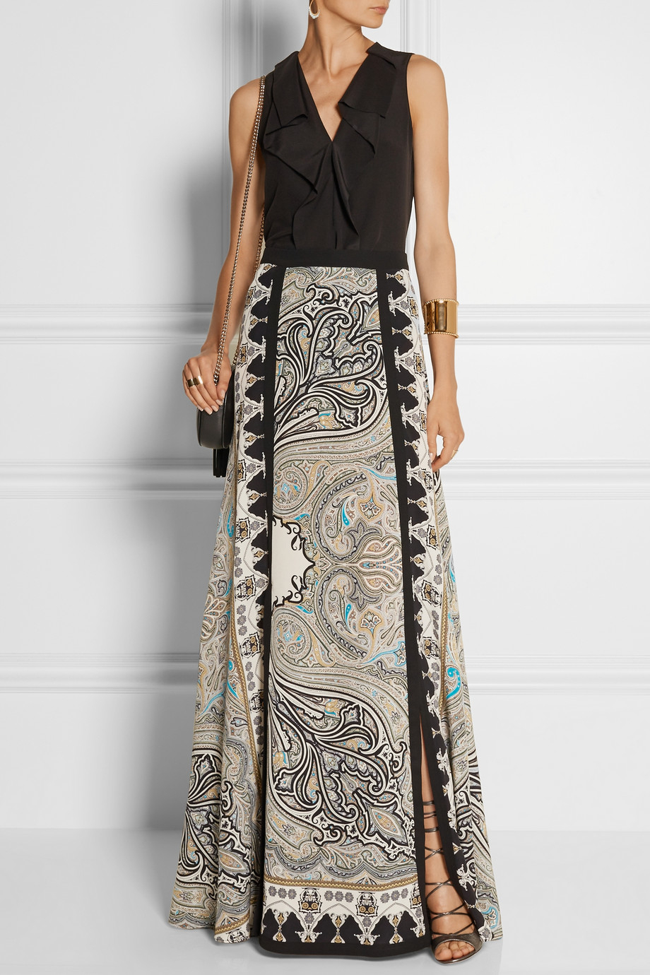 Lyst Etro Printed Silk Crepe Maxi Skirt In White