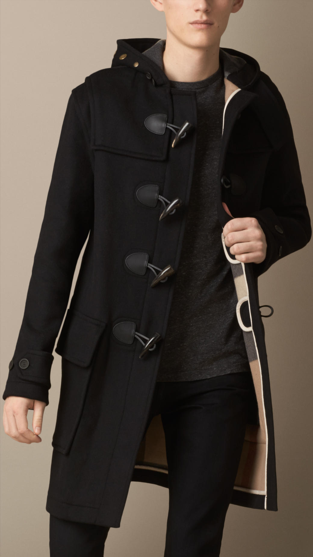 Burberry Double Faced Wool Duffle Coat in Black for Men | Lyst