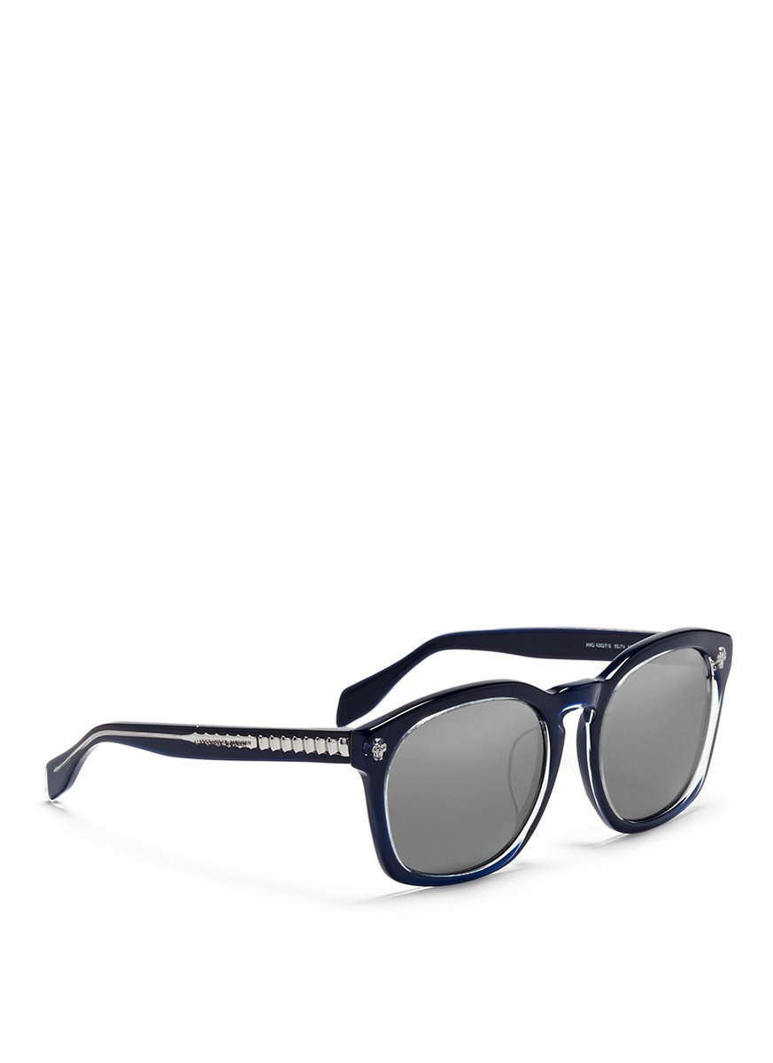 f1b71d2408 Alexander McQueen Spine Skull Acetate Mirror Sunglasses in Blue for ...