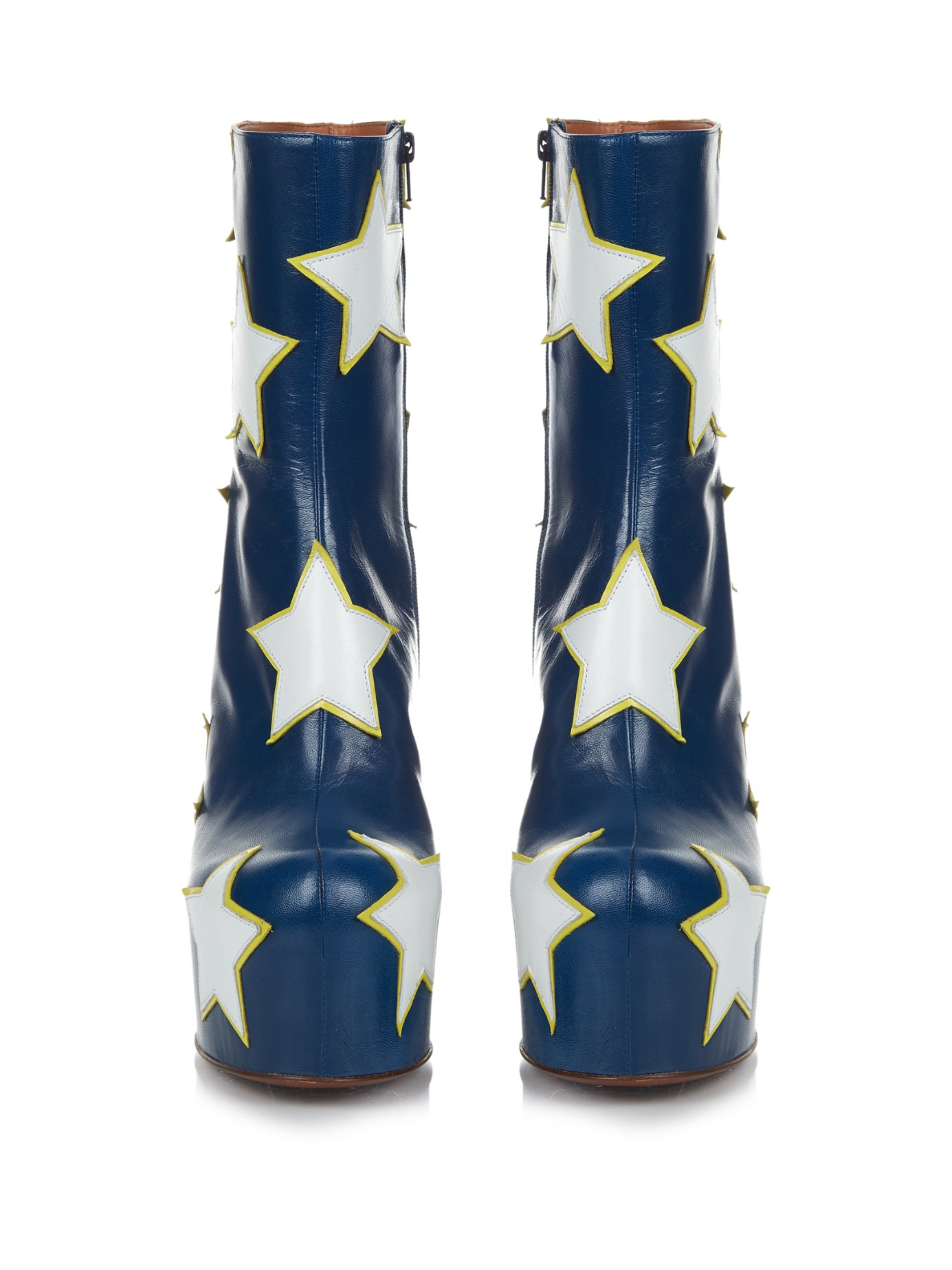 Vetements Stars Leather Platform Boots In Blue Lyst
