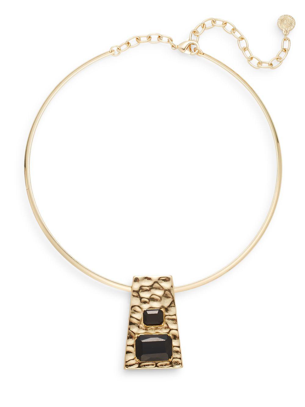 r j graziano geometric pendant collar necklace goldtone