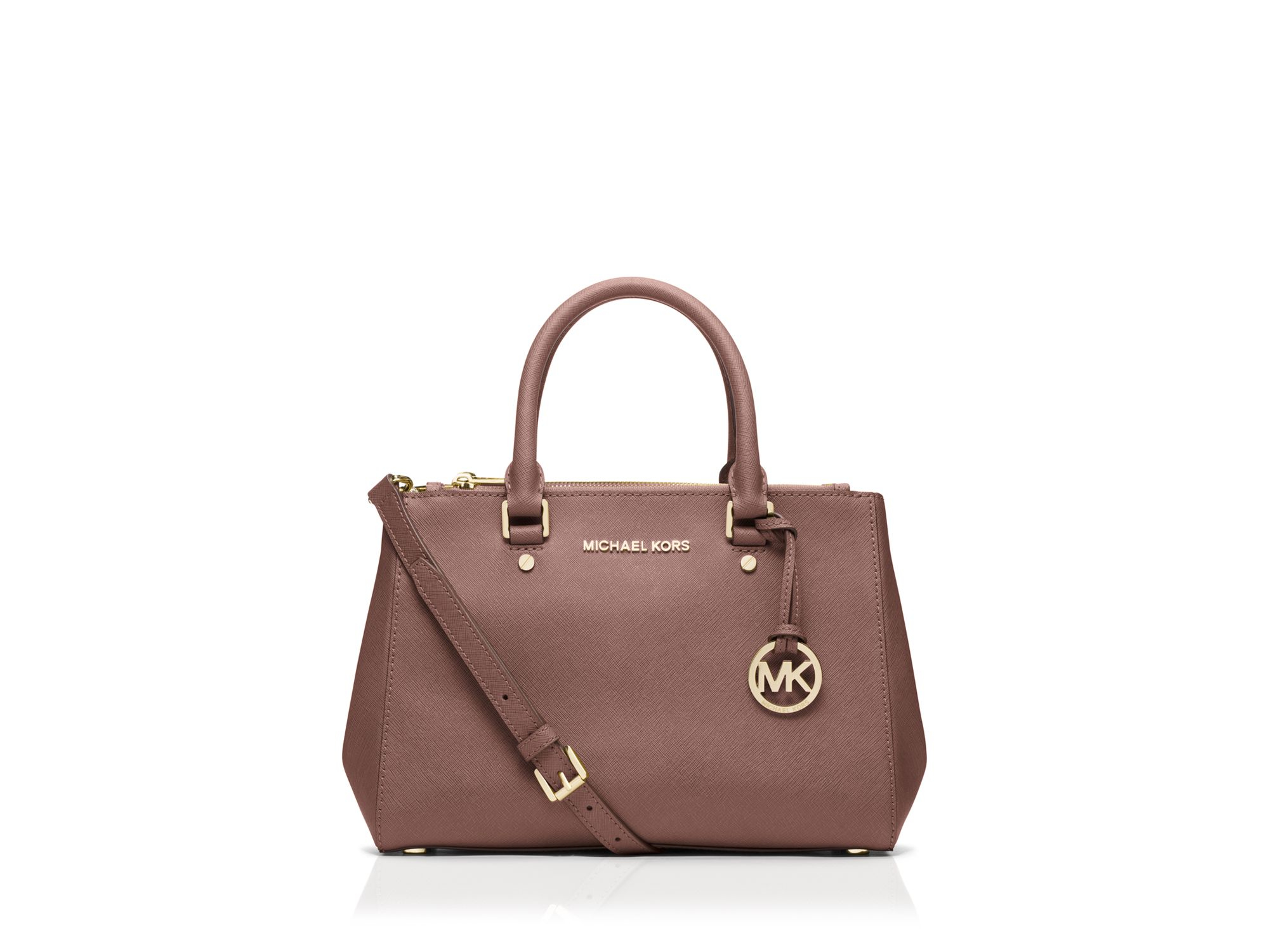 michael michael kors satchel small sutton in pink dusty rose lyst. Black Bedroom Furniture Sets. Home Design Ideas