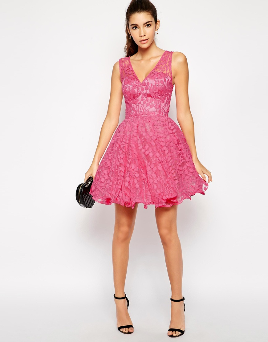 Lyst - Chi Chi London Rebecca Lace Prom Dress in Pink