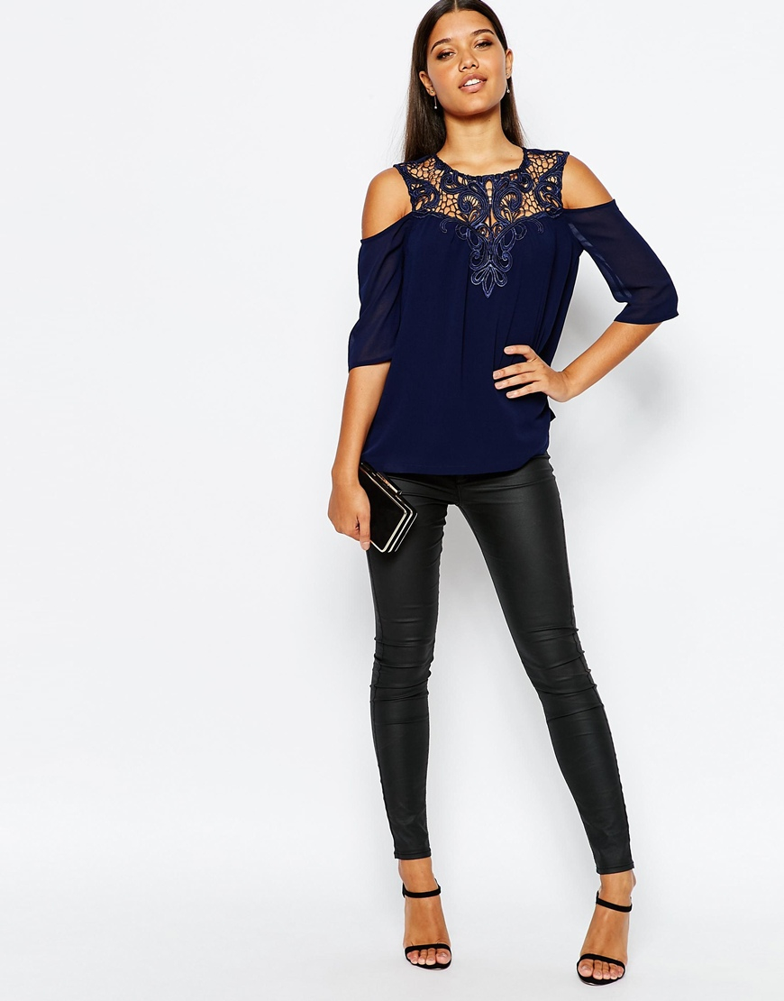 29260d1a6e62 Lyst - Lipsy Lace Trim Top With Cold Shoulder in Blue