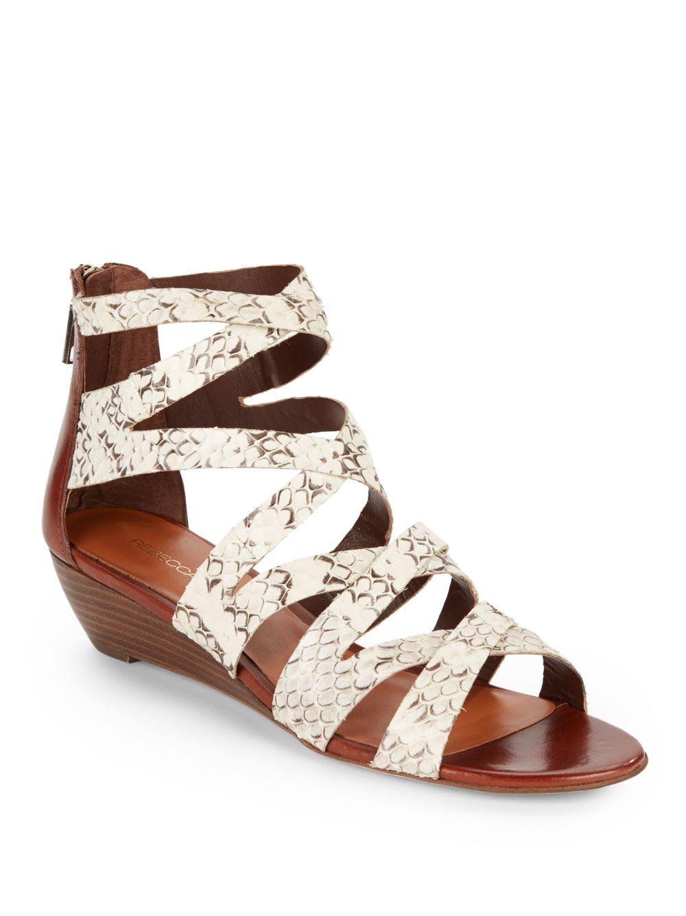 minkoff bonnie snakeembossed low wedge sandals in