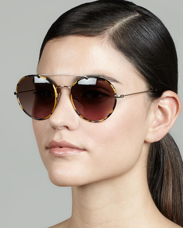 e73d280fe314 ... spain lyst prada catwalk round aviator sunglasses in brown 27d7f 175f8