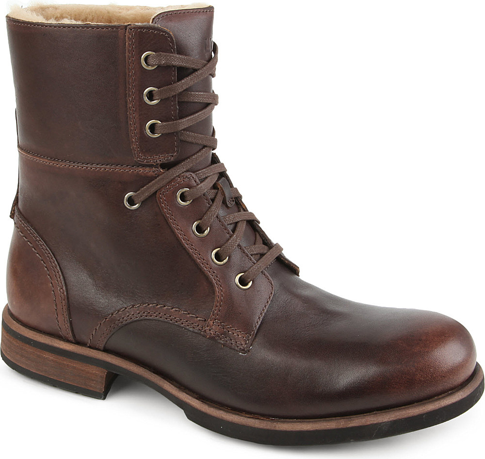 ugg fur lined boots brown in brown for lyst
