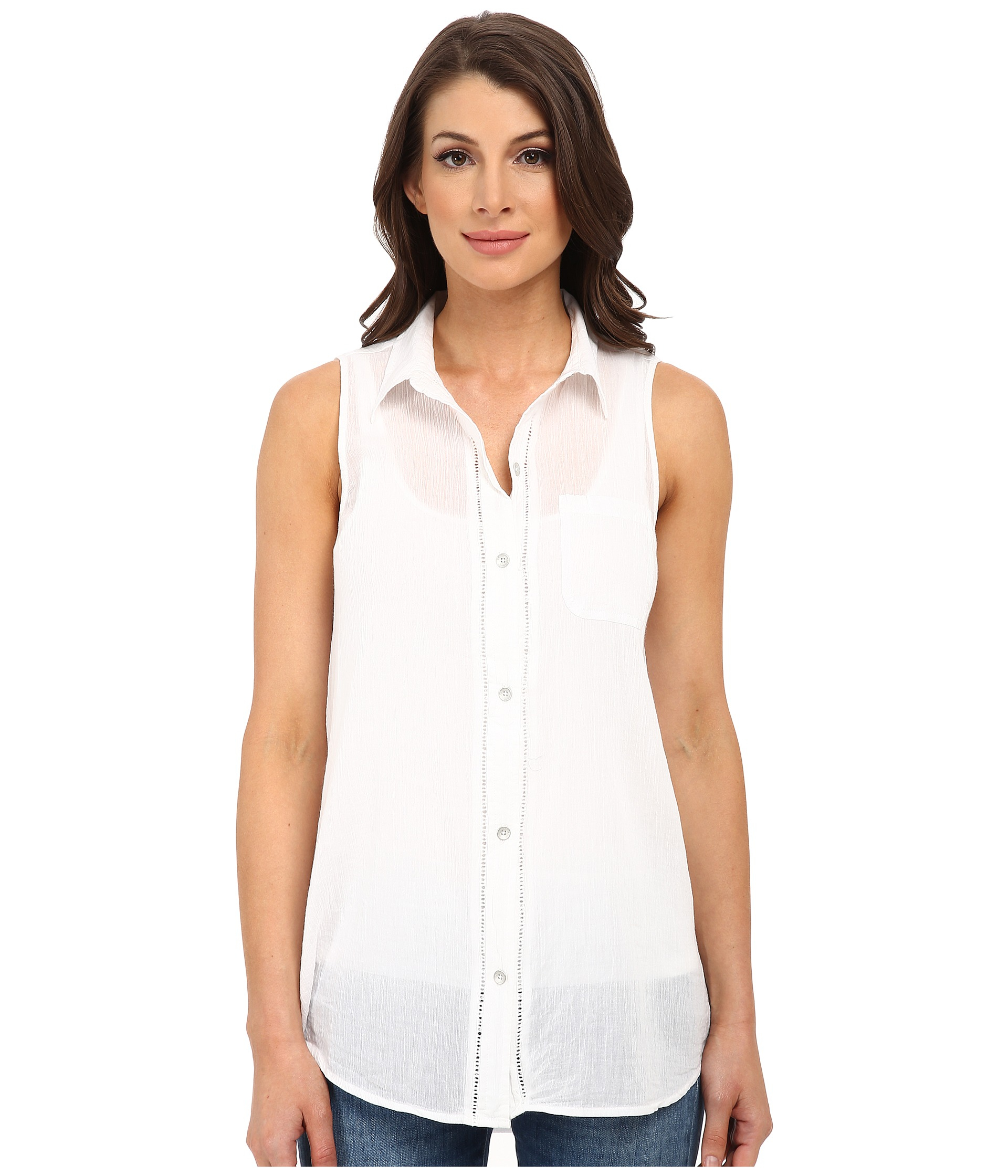 6f6094cccee7c Lyst - DKNY Cotton Gauze Sleeveless Boyfriend Shirt in White