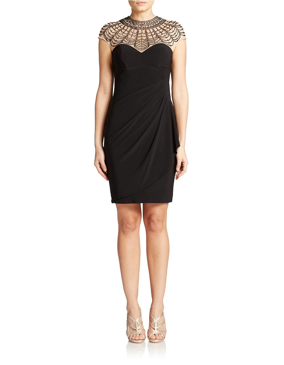 xscape beaded illusion top dress in black lyst