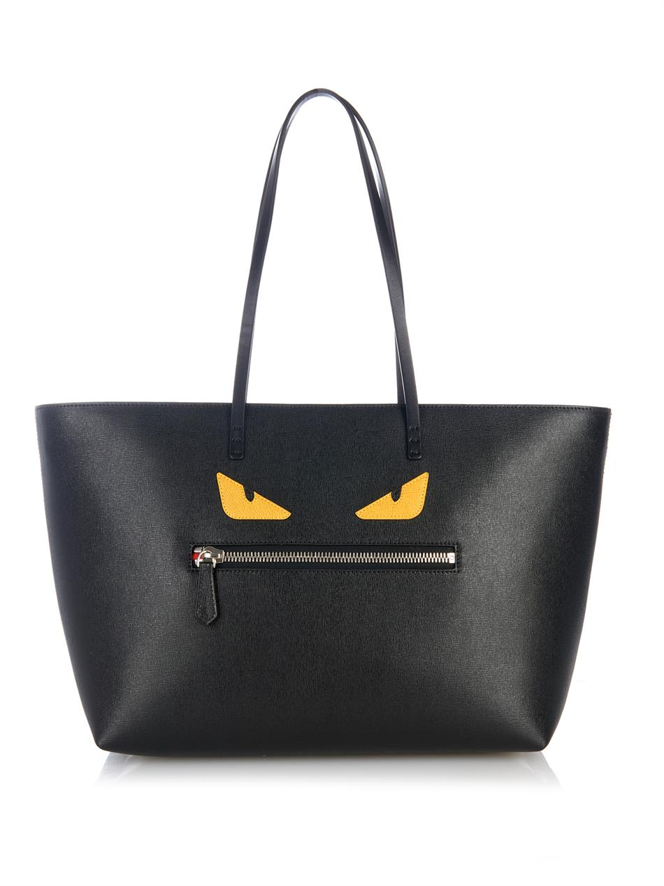 2d64f622a6 Lyst - Fendi Roll Monster Leather Tote in Black