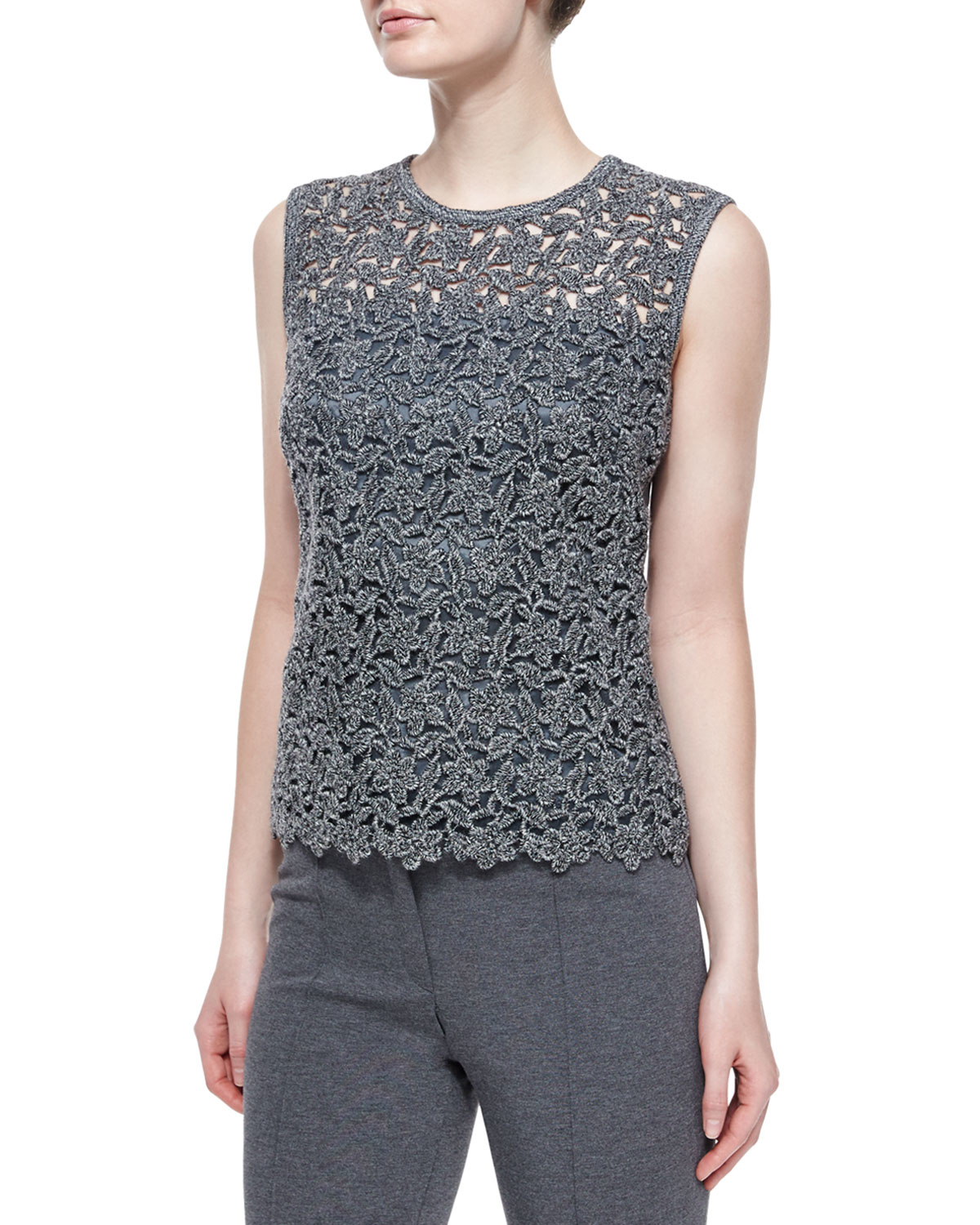 429b57c093c8f Lyst - ESCADA Paneled Floral Lace Tank Top in Gray